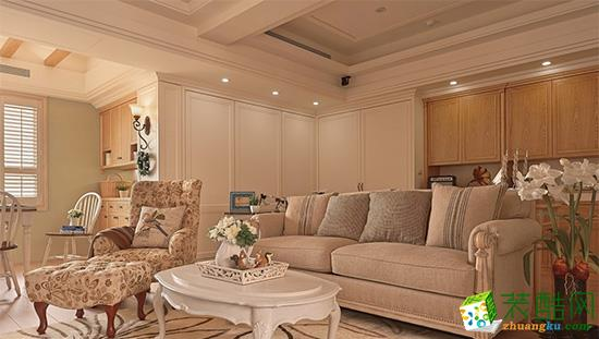 【亿阳装饰】时代奥城107方美式风格三室两厅装修效果图
