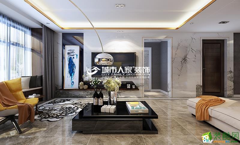 客厅 在设计时主要以简洁明快的设计风格为主调,功能实用至上,细节处又不缺乏精致,墙面、地面、顶面以及家具陈设乃至灯具器皿等均以简洁的造型、纯洁的质地、精细的工艺为其特征。尽可能不用装饰和取消多余的东西,由于线条简单、装饰元素少,则需要完美的软装配合,才能显示出美感。例如沙发需要靠垫、餐桌需要餐桌布、床需要窗帘和床单陪衬,软装到位是本案设计的关键。 城市人家|复地东山国际|现代简约风格