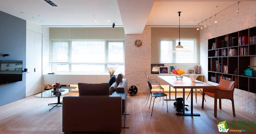 【建品装饰】金茂悦101平米混搭风格三室两厅装修案例图