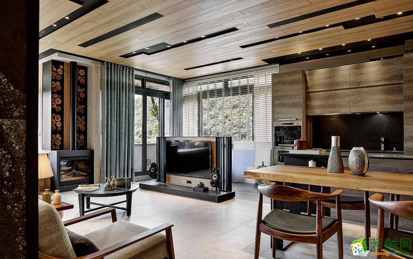 【建品装饰】西城汇91平米混搭风格三居室装修案例图