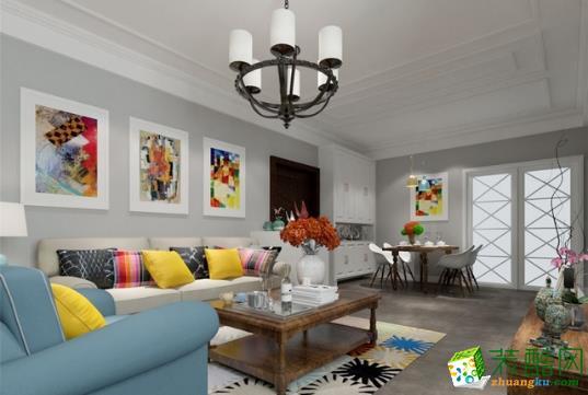 客厅的修饰颜色虽然艳丽,却并不杂乱,毛毯的颜色与油画、抱枕遥相呼应,为房间增加了勃勃生机。