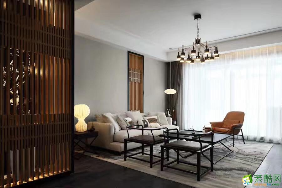 长沙美迪装饰-新中式三居室装修效果图