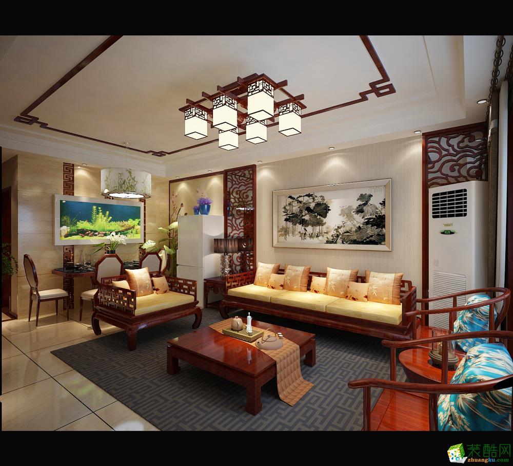 >> 115平米中式三居室装修效果图图片