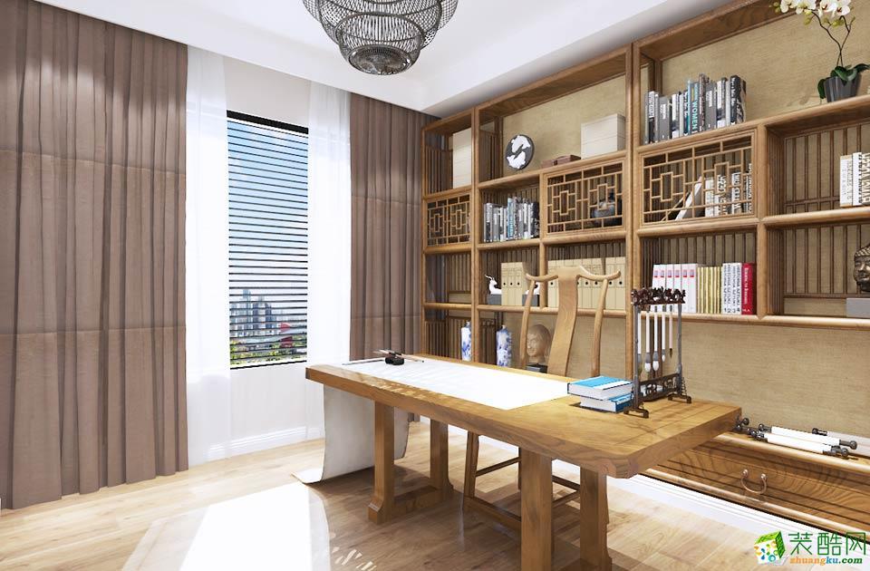 新中式三居室装修效果图-书房装修效果赏析