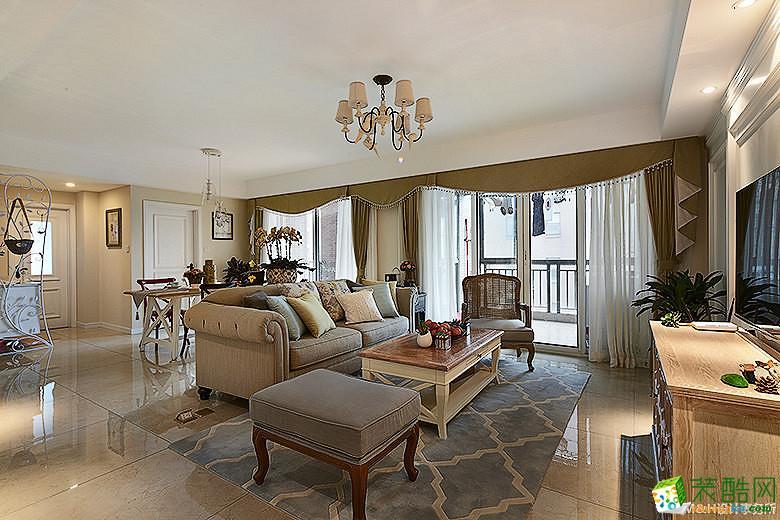 【MH设计】126方三室两厅美式风格装修效果图