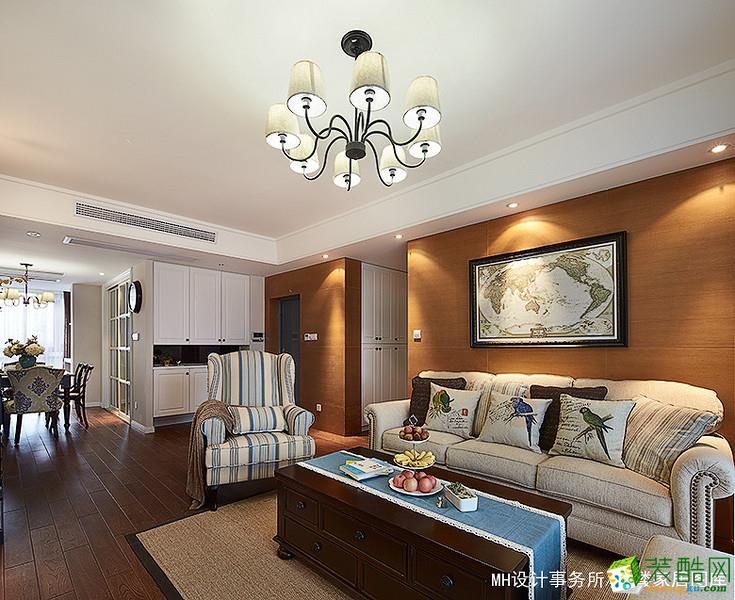 【MH设计】三室两厅两卫122方美式风格装修设计效果图