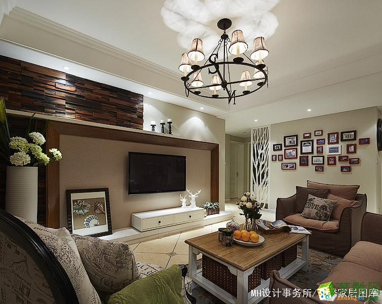 【MH设计】89方两室两厅一卫田园美式风格设计装修效果图