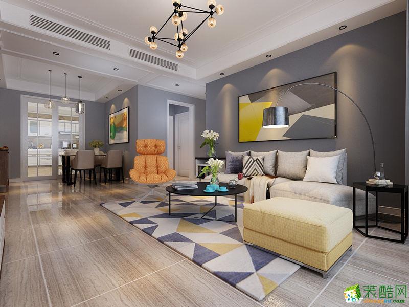 110平米現代簡約三居室裝修效果圖