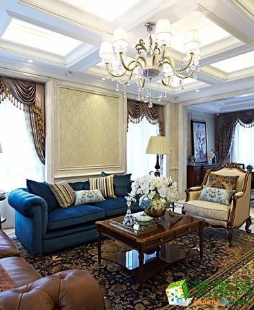 【印美集设计】上海家天下265方美式风格排屋设计装修效果图
