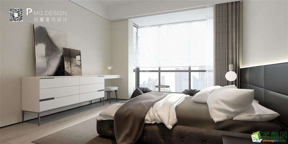 【伍重设计】黄浦湾壹号130方三室两厅现代装修效果图