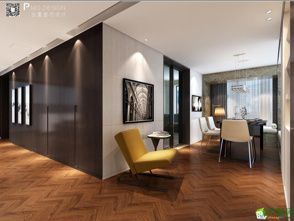 【伍重设计】中大吴庄170方四室两厅原木风格装修效果图