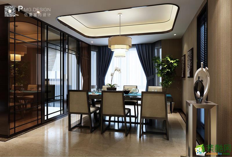 【伍重设计】吴山铭苑140方三室两厅中式风格装修效果图