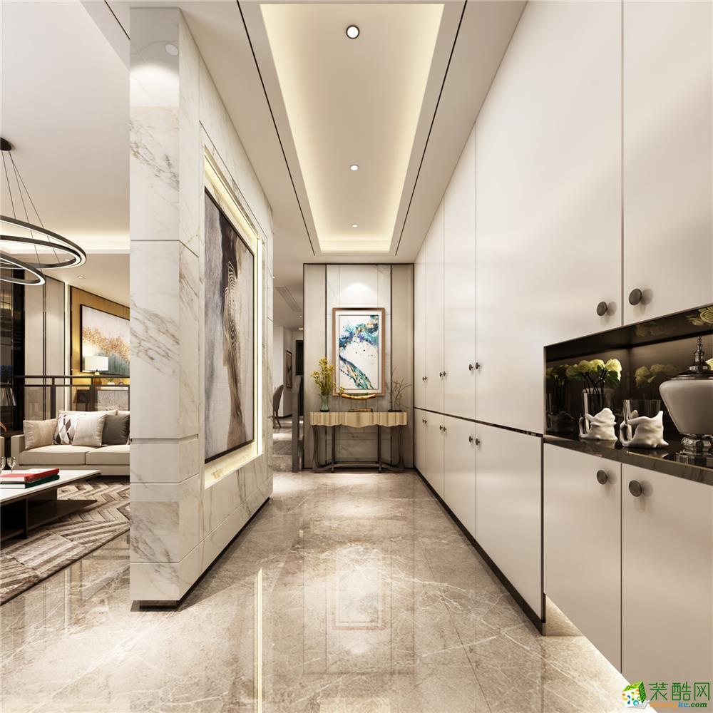 【腾龙设计】陆家嘴红醍半岛别墅400平米中式风格装修设计案例图赏析。