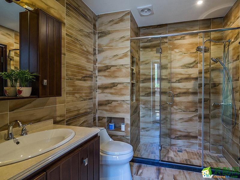 中式三居室装修效果图-卫生间装修效果赏析