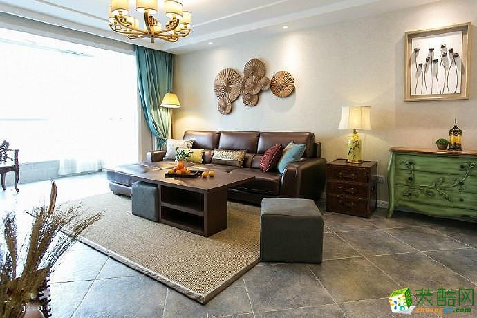 【蘑菇加】89方美式风格两室两厅软装设计搭配装修效果图