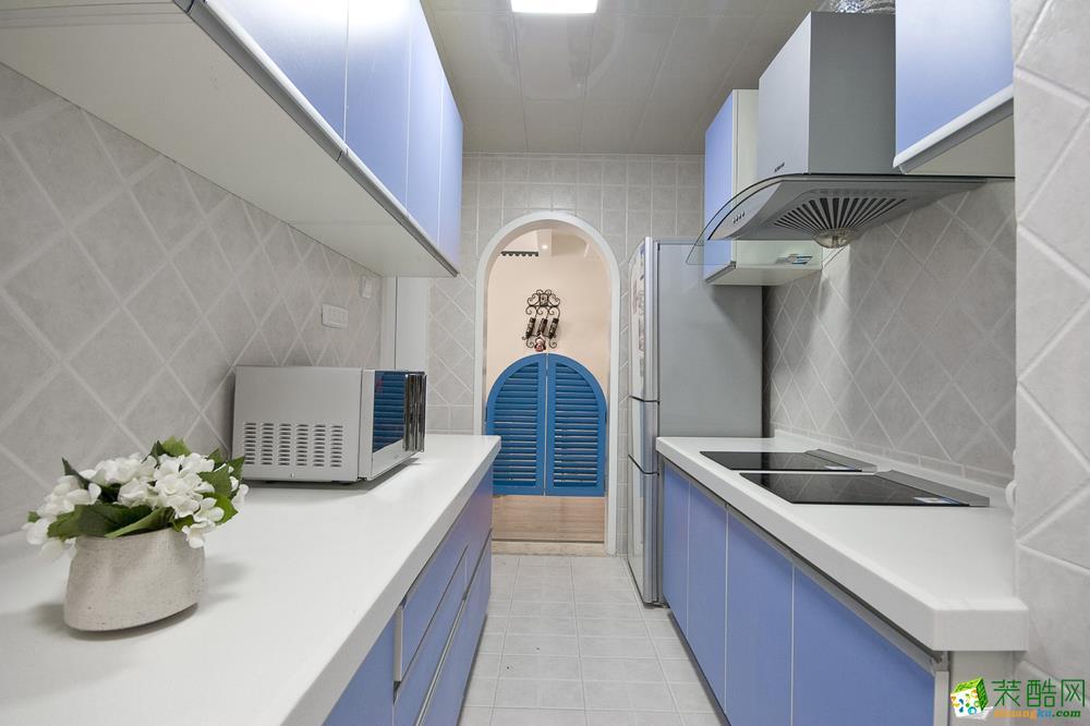 地中海三居室装修效果图-客厨房装修效果赏析