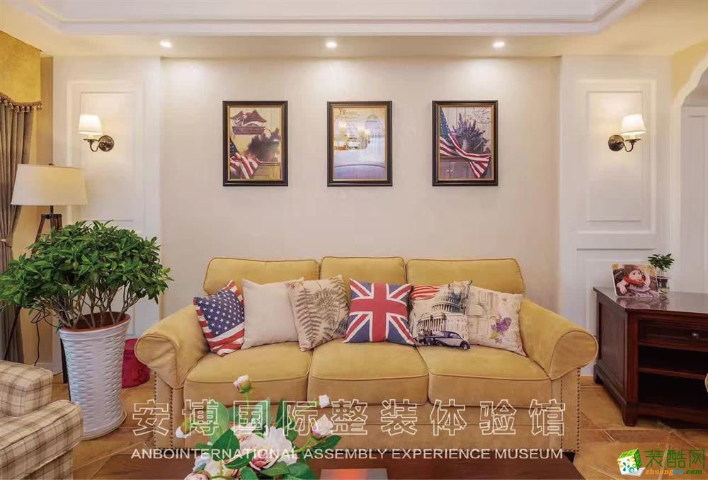 【安博装饰】京惠花园128方三室两厅简美风格装修效果图