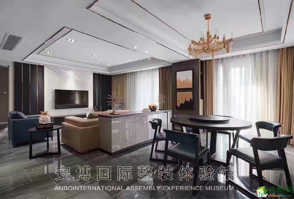 【安博装饰】尚景国际128方简约风格三室两厅装修效果图