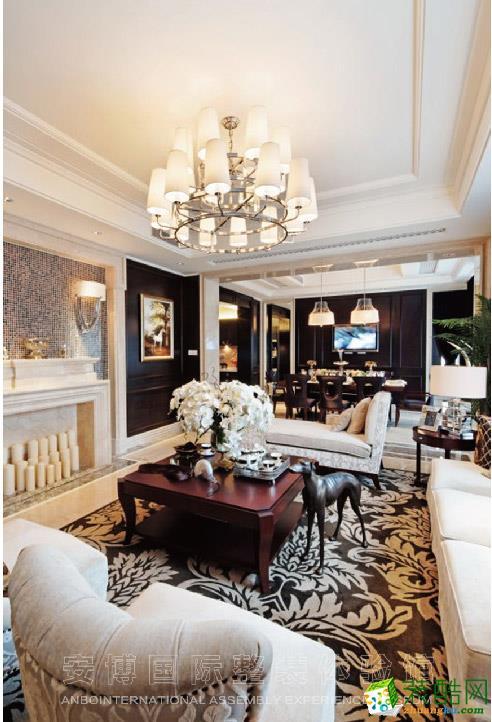 【安博装饰】德信 东望府158方三室两厅美式风格装修效果图