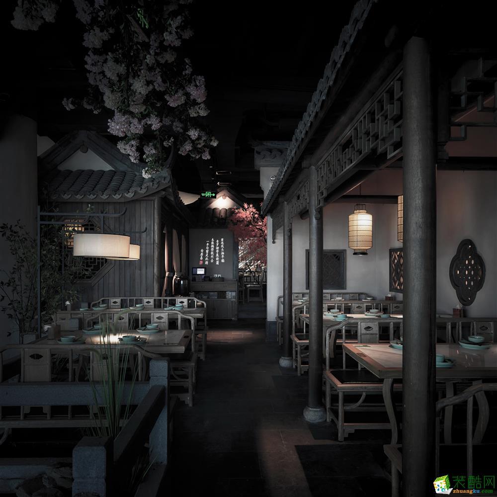 【设谷v餐厅】780方吴庄餐厅餐饮店装修设计效富水路广告设计图片