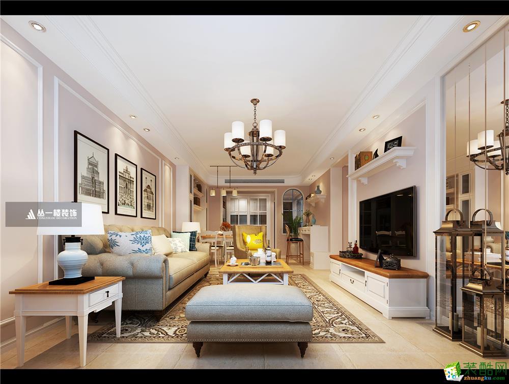 明园九龙湾103平三房小美风格-丛一楼装饰出品