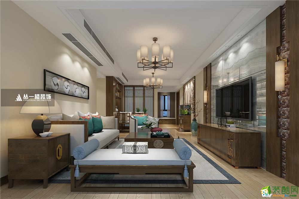 万达滨江华府120平新中式风格-丛一楼装饰出品
