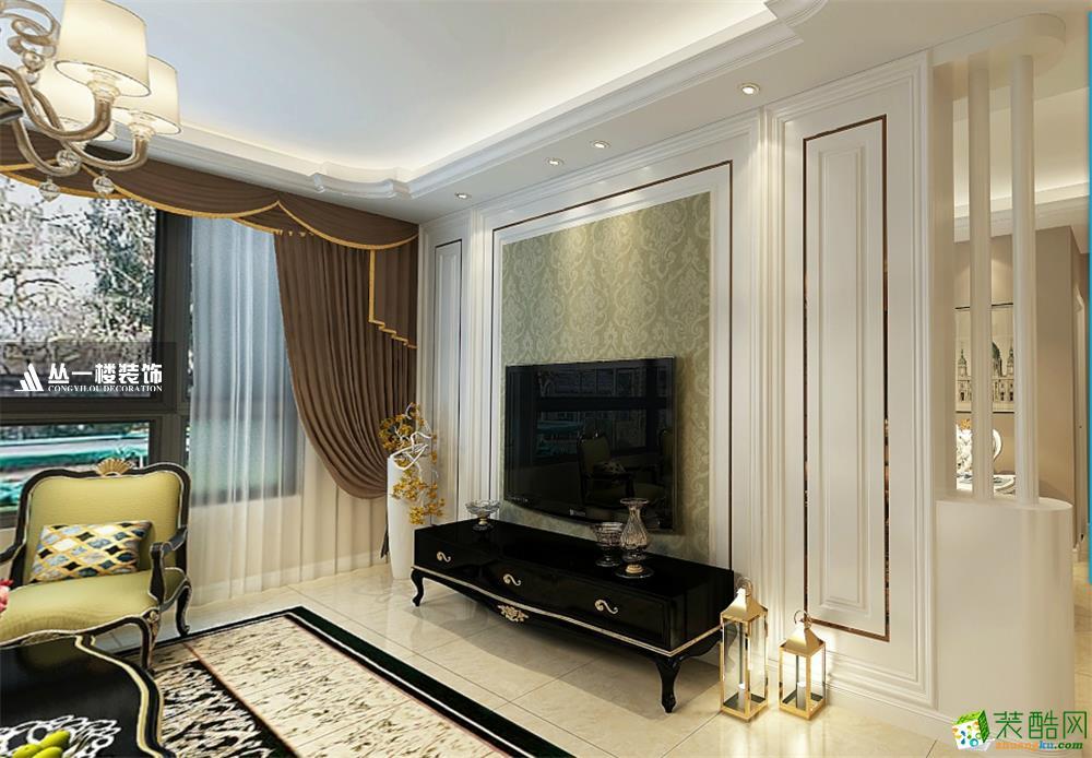 明园九龙湾120平三房现代混搭风格-丛一楼装饰出品