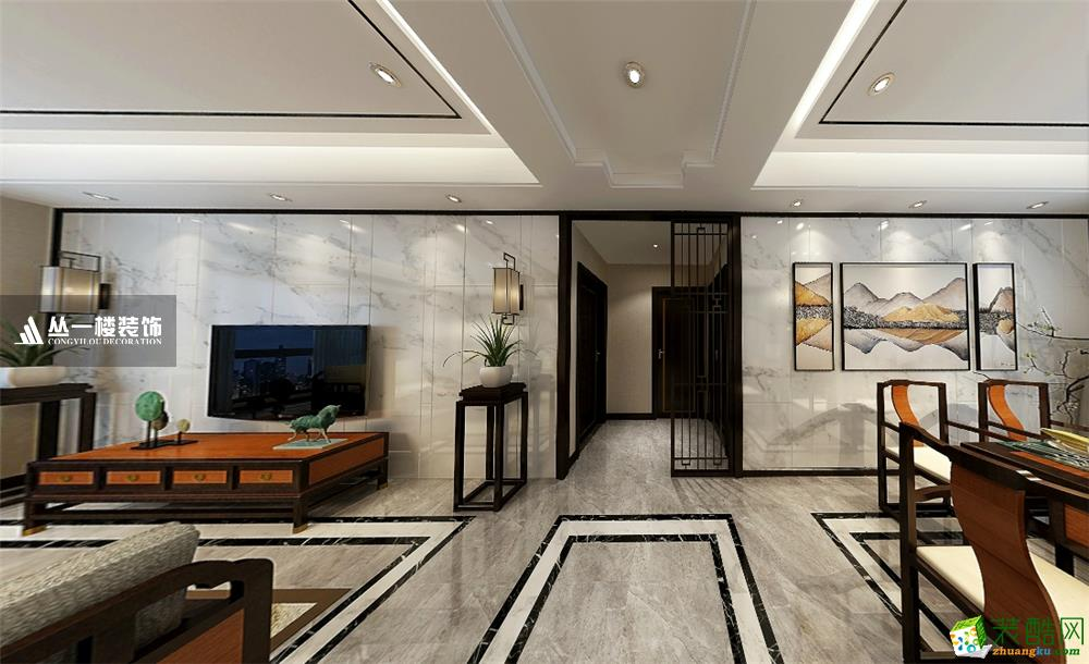 万达旅游城115平三房新中式风格-丛一楼装饰出品