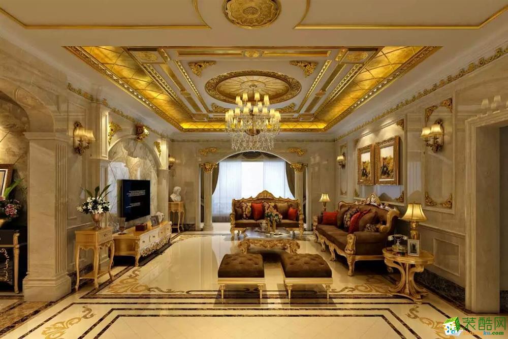 鸿博装饰---欧式风格367平米别墅住宅装修案例图赏析。