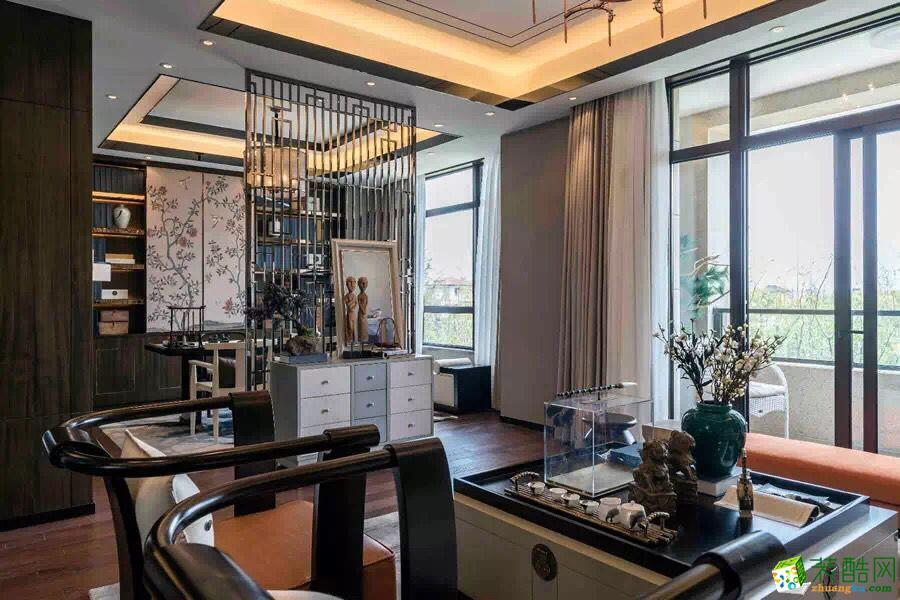 爱和美装饰---119平米三室两厅中式风格装修案例图赏析。
