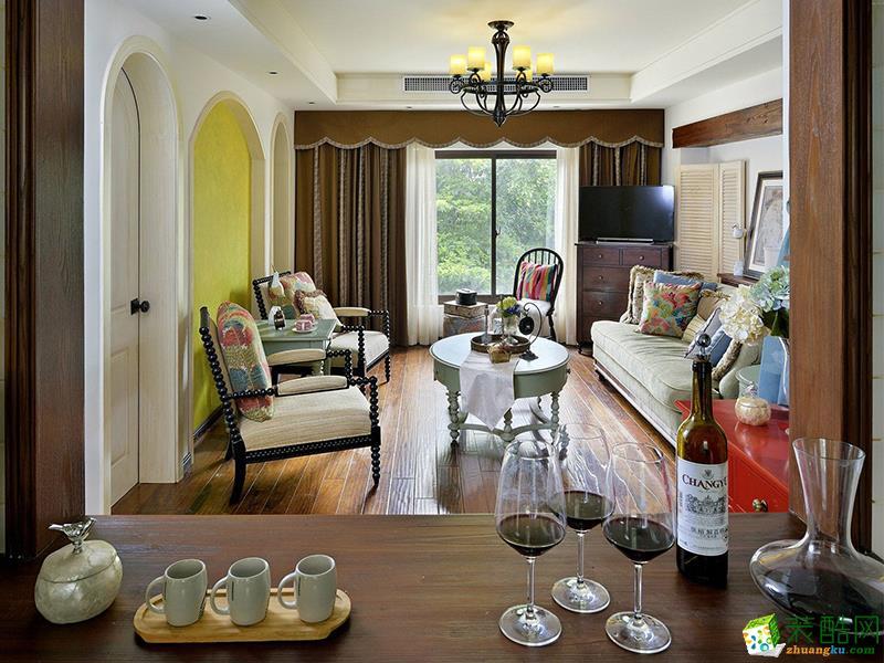 【千思装饰】120方美式清新三室两厅装修效果图