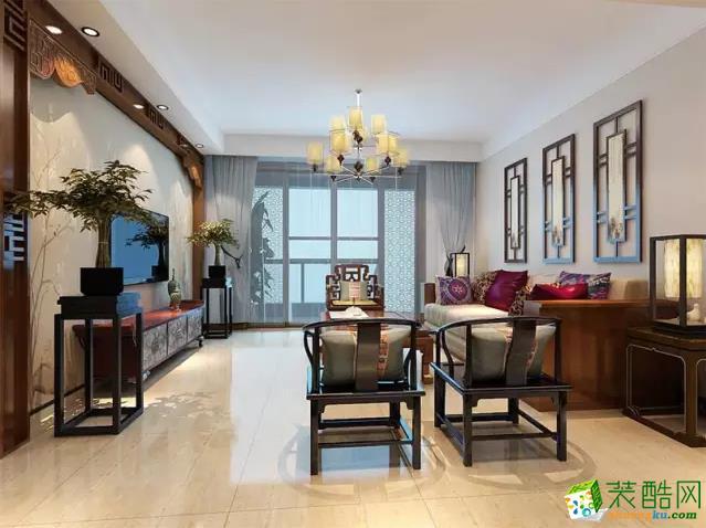 【艺航装饰】136㎡中式风格www.w88982.com效果图_中式风格-三室两厅一卫