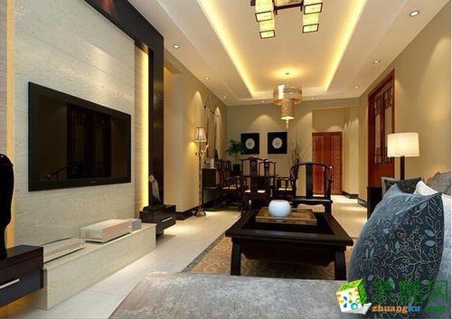 客厅整体是浅咖色和白色大理石瓷砖的结合,线条简单。