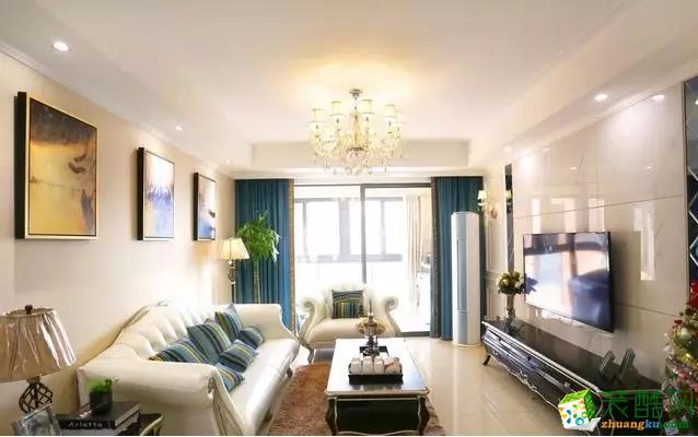 【创佳装饰】110㎡简欧风格www.w88982.com效果图_欧式风格-三室两厅一卫
