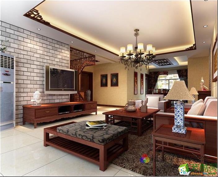 【星启装饰】东方名城中式风格www.w88982.com效果图_中式风格-三室两厅一卫