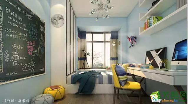 儿童房时尚个性,榻榻米的设计使空间利用最大化,节省了大面积的娱乐空间;墙面的涂鸦黑板增添不少童趣,而个性的玩具更从视觉上提升了空间的多元化。