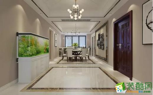 玄关、餐厅紧紧相连,设计师在设计时遵循不同的使用区域拥有同样的视觉中心。全区以大理石为基底,搭配墙纸、灯光等元素,共同打造质感居住空间。