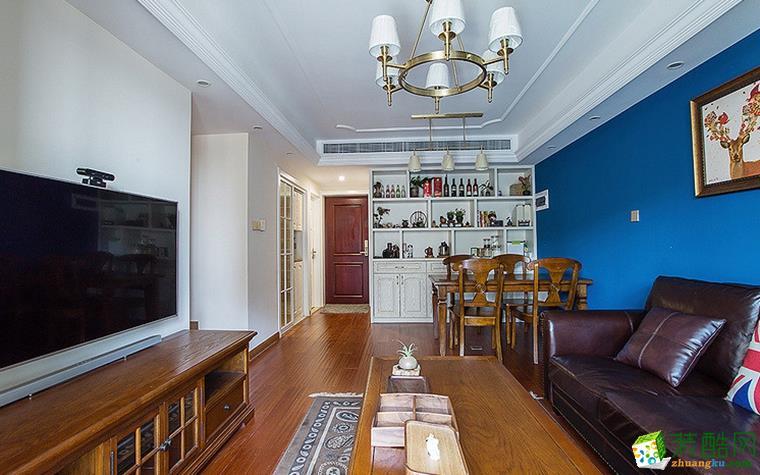 二十四城装饰---龙湖花千树78平米美式风格两室两厅效果图赏析。