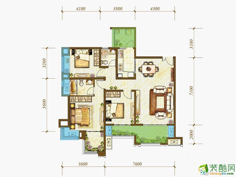 【绿森林装饰】江与城薇澜岸欧式102平米欧式风格装修案例图