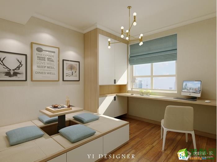 书房中用榻榻米取代沙发,既能会客又能作卧室,一举两得。原木色、白色与青色的大量使用,让书房清新自然,适合思考。