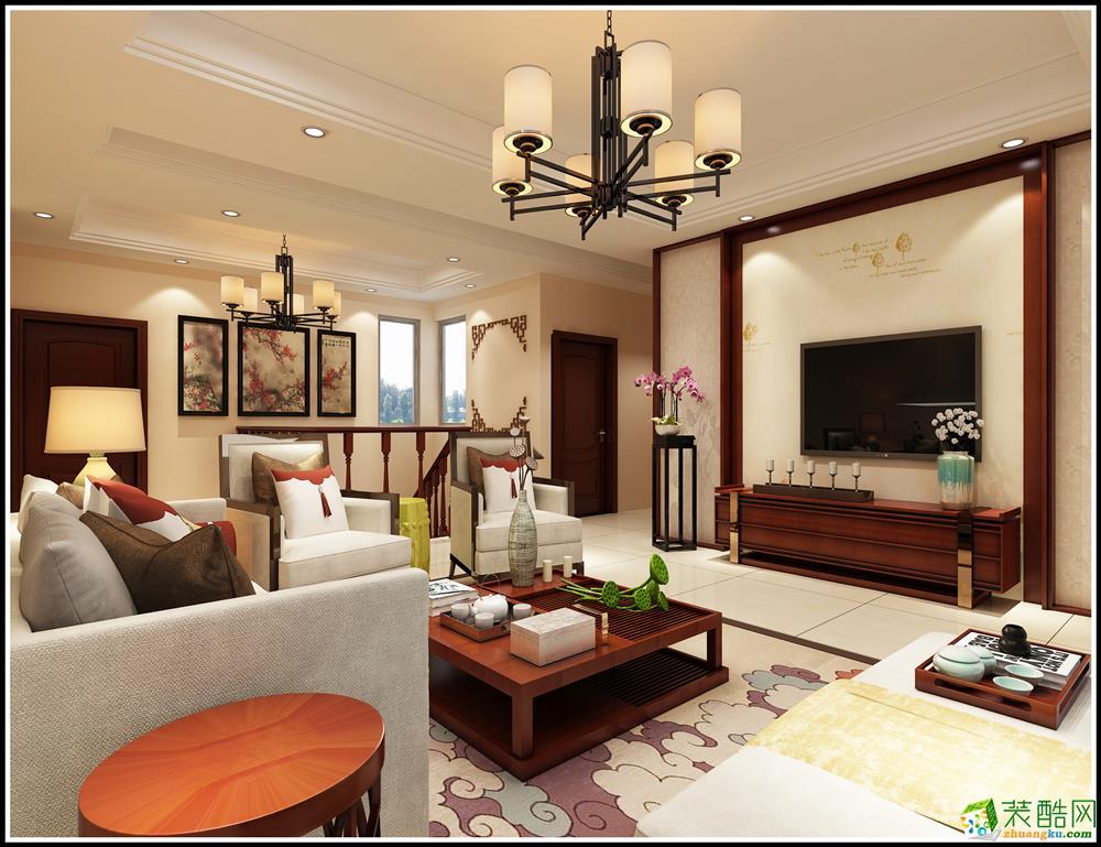 260平米新中式风格跃层住宅装修案例图|美佳美装饰