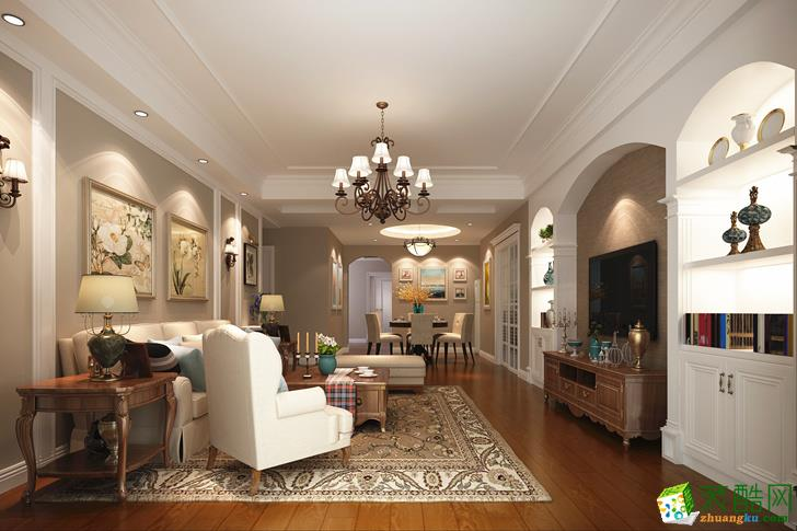 黔灵半山美式家居三居室160�O美式风格装修案例图|业之峰装饰