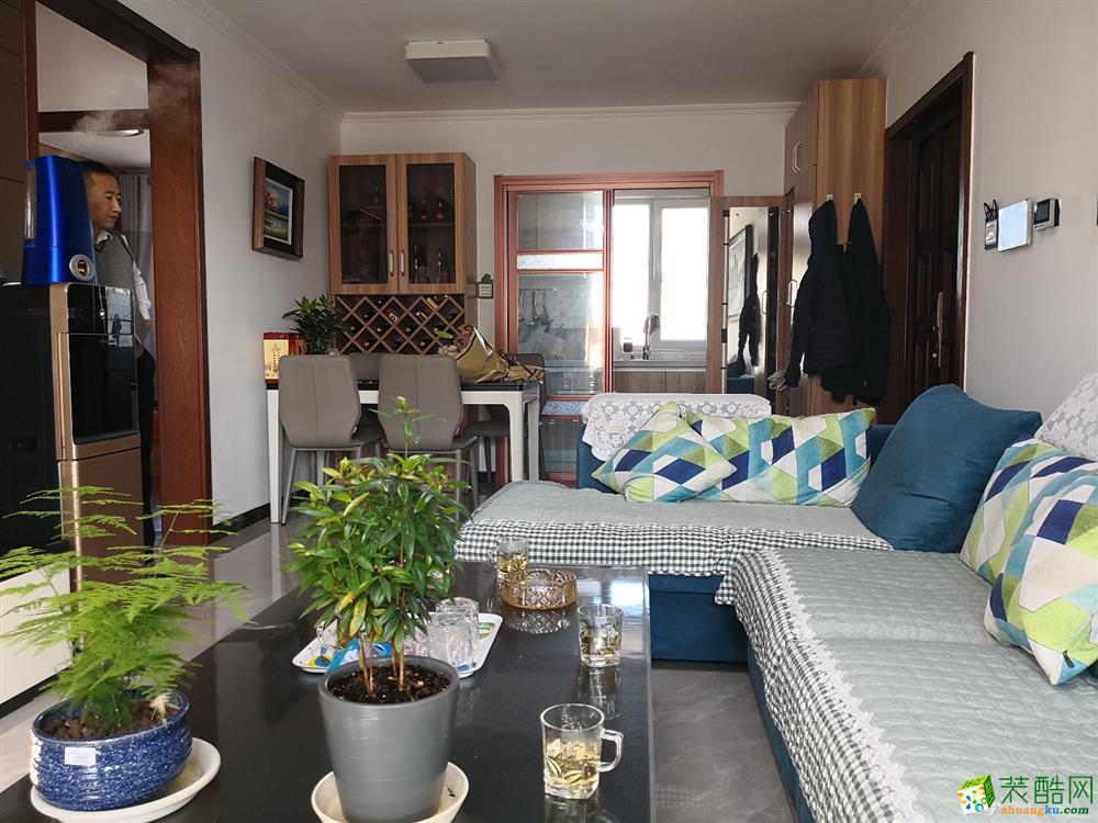 87平米現代簡約風格兩室兩廳裝修案例圖 今朝裝飾