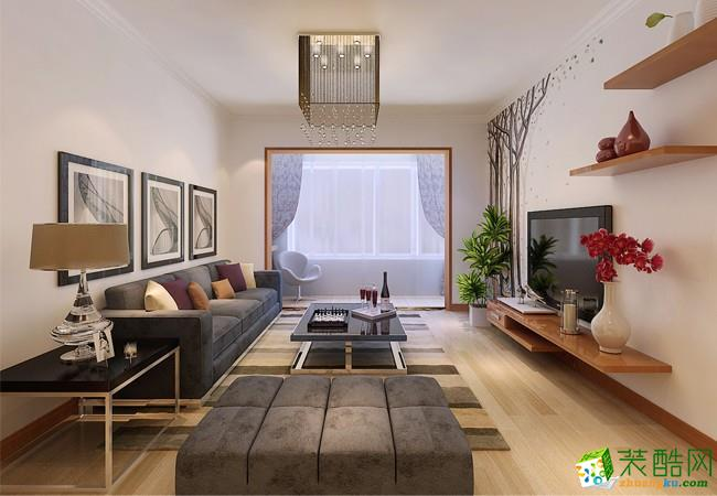 花果园107平米现代简约风格三室两厅装修案例图|创艺装饰
