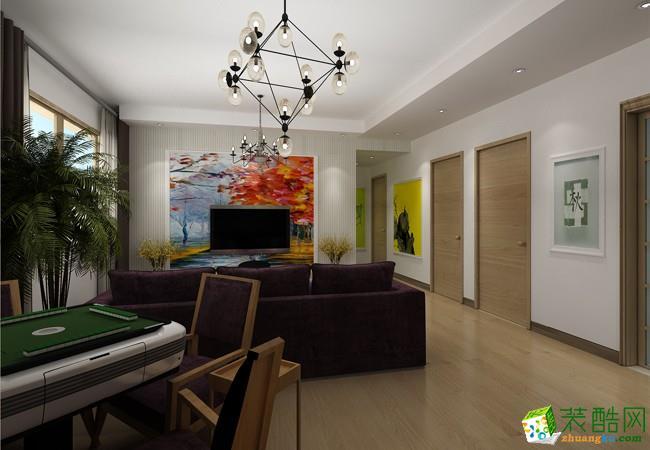 100平米现代简约风格三室两厅花果园装修案例图|创艺装饰
