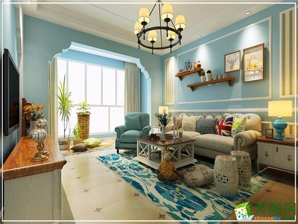 观山小区120平米简美风格三室两厅装修案例图|创艺装饰
