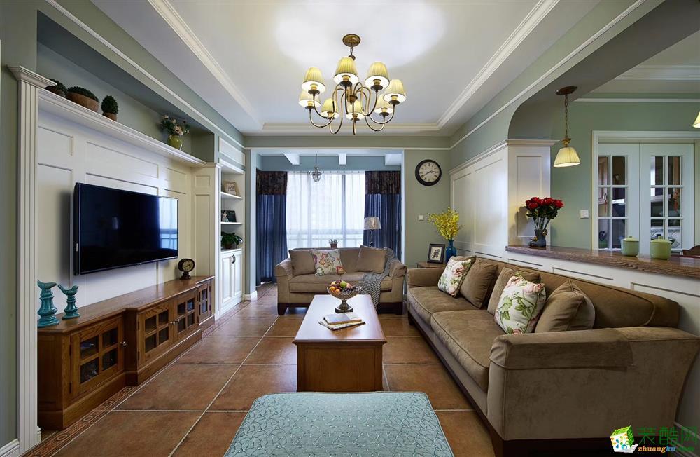 唐卡装饰 东原九城时光102平米美式风格三室两厅装修案例图
