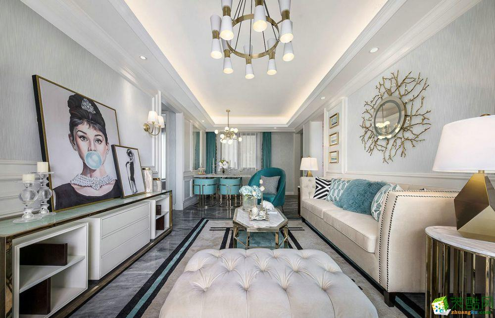120平米欧式风格三室两厅装修案例图|鸿伟装饰