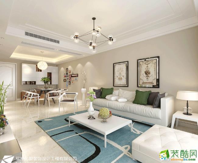 客厅 客厅的颜色简单干净、地毯增加了美感。 【亿盟装饰】上城美域118平米现代风格装修效果图