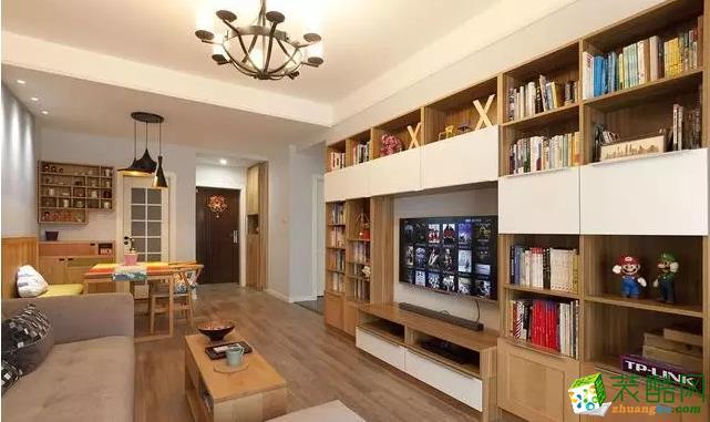 客厅 实木的茶几、书柜,地板,颜色和风格都很和谐。 【鼎圣装饰】78�O北欧混搭风格两居装修效果图